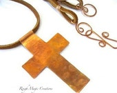 Christian Jewelry, Large Cross Pendant, Rustic Copper, Christian Statement Necklace, Hammered Metal, Religious Faith, Suede Leather Cord