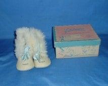 Vintage Wool Baby Booties Never Worn in Box Cute Fur Trim by Gertrudes
