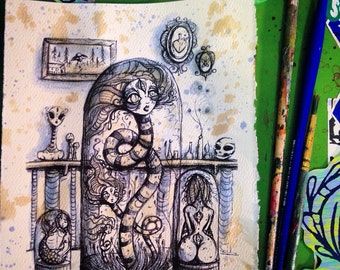 Curios limited edition hand tea stained print