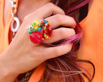 Lucite Ring // Eclectic Jewelry // Statement Ring // Beaded Ring // Adjustable Ring // 60s Mod // Funky Rings // Colorful Rings // Club Kid