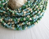 seed beads mix ,  blue green white glass bead, opaque gritty organic barrel rondelle Indonesian  bead - 1.5  to 4mm /  44 inch - 6bb5-4
