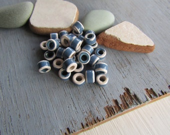 rondelle ceramic beads, 2 colors white  and blue ,  small spacer discs washers   6mm x 4mm ( 12 beads ) 6asrm-2