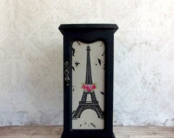 Shabby Cottage Chic Black and Pink Paris Tattered Upcycled Repurposed Tall Jewelry Box
