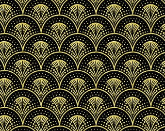 Fanfare Black Gold Rhapsody in Blue Benartex Fabric 1 yard