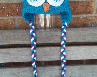 Owl Hat, Crochet Owl Beanie, Made to Order