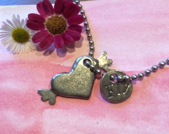 Fly and heart with wings necklace