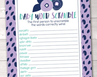 Printable Baby Word Scramble Baby Shower Game with Purple & Blue Flowers