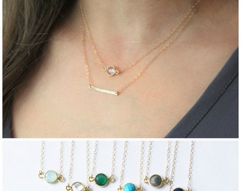 Dainty Gold Necklace, Gold Layered Necklace Set of 2, Bridesmaid Gifts, Gemstone Necklace & Gold Bar Necklace, Gift for her, Dainty Jewelry