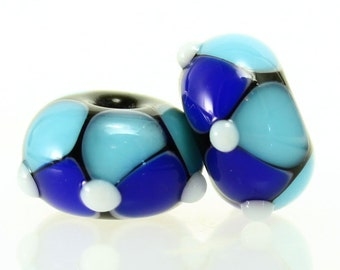 Made to Order, Handmade Lampwork Beads, Aqua and Cobalt Blue Pair, SRA Beads, Donna Trull, Artisan Beads, Floral Beads, Glass Flowers
