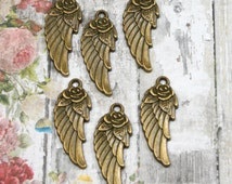 Angel Wing Charm with Rose Casting Antique Bronze 31mm {6pcs} CST57AB