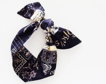 Goth Head Scarf / Hair Accessory / Black Tan Neck Scarf / Handbag or Walker Adornment / Rockabilly Head Scarf / Gift Under 20
