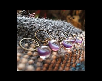 Stitch Markers: 5 Crystal and Purple Pressed Glass Stitch Markers
