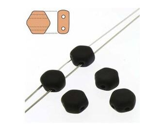 Honeycomb Czech Beads 2 holes 18212 , Matte Jet Black (2 strands about 60 beads), 6mm Flat Hexagon Beads, Honey Comb Bead, Preciosa