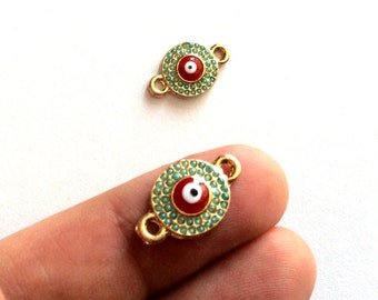 1pc- Matte Gold Plated Matte bead  Evil Eye Connector-18x12mm