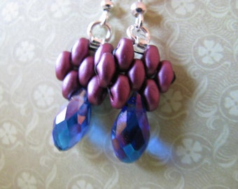 Lavender Lilac Superduo Earrings, Hand Beaded Earrings, Superduo Earrings, Purple Earrings