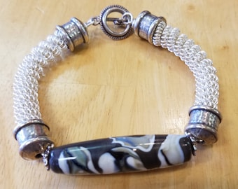 Oblong Lampwork Wire Bangle
