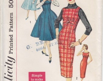 Vintage Pattern Simplicity 2651 Dress or Jumper 50s Size 12 B32