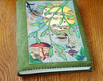 Peaceful Moments 04 - waxed green canvas mid size journal
