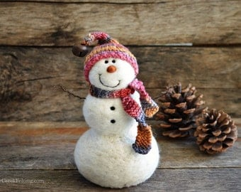 Snowman - handmade - needle felted- one of a kind -  742