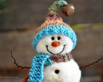 Snowman - handmade - needle felted- one of a kind -  728