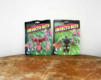 """Vintage INSECTO-BOTS Beetle & Mosquito Mosquite Mutant 4"""" Action Figures Chigo"""