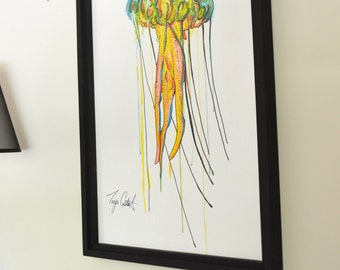 Jellyfish Original Painting, gouache watercolor, large framed art, 22 x 30