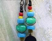 Primitive Bead Drop Earrings, Jade, Vintage Trade Bead, Czech Glass, Dangle Earrings, Drop Earrings, Multicolored Beads, Cheldena Artwear