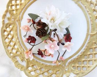 bridal headpiece, wedding hairpiece, ivory hair clip, burgundy wedding, floral hair comb, rustic wedding hair, bridal hairpiece, pink flower