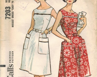 1960s McCall's 7203 UNCUT Vintage Sewing Pattern Misses Sundress, Sleeveless Dress, Size 14 Bust 34, Size 16 Bust 36