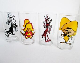 Pepsi Warner Bros. Drinking Glasses 1970s Looney Tunes Cartoon Yosemite Sam, Wile E Coyote, Pepe Le Pew, Speedy Gonzales, Tim Horton