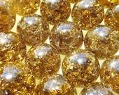 "Twenty(20) 9/16"" 14mm Amber Brown Marbles, Fried Marbles, Cracked Marbles, Crackled Marbles, Glass Marbles, Marbels"