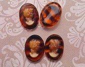Vintage Glass Cameos - 18x13 mm Lady Cabochons - Butterscotch and Tortoise Shell (choose 2 pc or 4 pc)