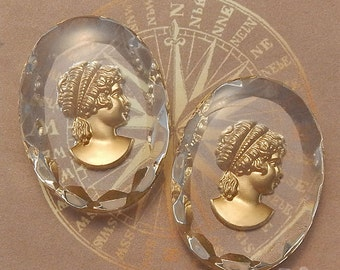 Vintage Glass Intaglio Cameos  30x40 mm Gold and Crystal Lady in Profile (choose 1 pc or 2 pc)