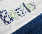 Monogrammed Baby Blanket in OCEAN, Navy Blue Dot Minky & White Chenille, Personalized with Your Baby Boy's First Name in Colorful Fabrics