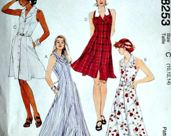 McCall's 8253 Sewing Pattern, Misses' Princess Seamed Dress, Sundress, Sizes 10-12-14, Bust 32.5-34-36, Uncut FF, Spring/Summer Fashion