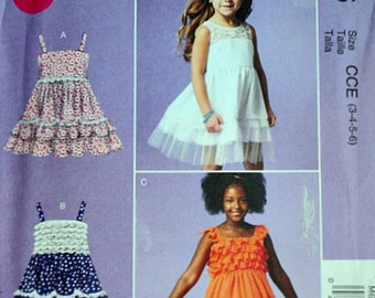 Sewing Pattern McCall's 6685 Easy Children's Girls' Dresses, Sizes 3-4-5-6, Uncut FF