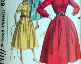 Vintage 50's Simplicity 2138 Sewing Pattern, Junior Misses' One-Piece Coat Dress and Detachable Ruffle, Size 13, 33 Bust