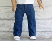 Boy Doll Clothes Denim Blue Jeans with Pockets, snap front waistband and open fly