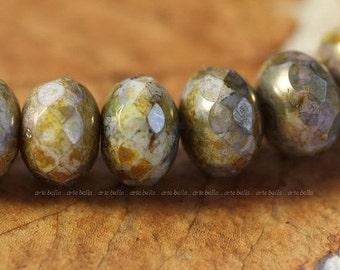 GILDED SMACKS .. 10 Premium Picasso Czech Glass Beads 6x8mm (4104-10)