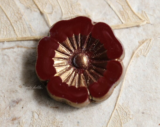 sale .. MAROON PANSY .. 1  Picasso Czech Glass Flower Beads 22mm (5249-1)