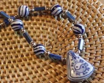 Yin Yang blue hand painted Chinese ceramic necklace