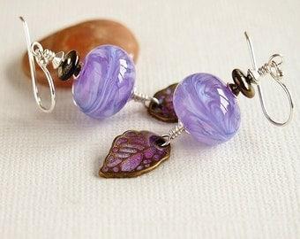 Lampwork Bead Earrings, Mauve, Pink, Blue, Leaf, Bronze, Artisan Lampwork, Sterling Silver - LILAC DREAMS