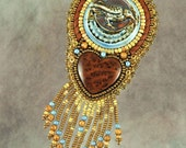 Necklace, jewelry, bead embroidery, beaded,raven, heart, porcelain, blue, brown, leather necklace