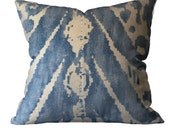 Throw Accent Pillow 18x18 Blue Ikat Travers Pondicherry