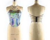 Vintage Club Kid HOLOGRAPHIC Bustier // Strappy Cage Design // Iridescent Corset // Holographic Corset - sz S - 26 Inch Waist