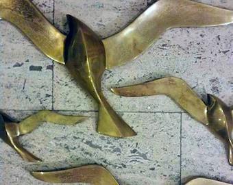Brass birds set of 4