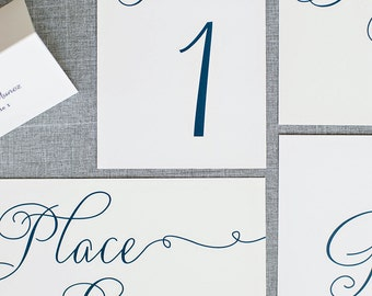 Formal Navy and White Table Numbers - Jessica and Jeffrey
