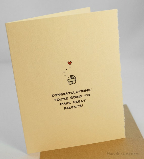 Congratulations! You're going to make great parents! new baby newborn greeting card cute adorable recycled made in Canada stationery