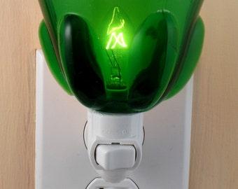 Unusual Green Pressed Glass With Raised Pattern Custom Night Light