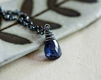 Gemstone Necklace, Iolite Necklace, Crystal Jewelry, Crystal Pendant, Blue Iolite, Gemstone Pendant, Sterling Silver, PoleStar Jewelry,